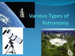 Various Types of Astronomy