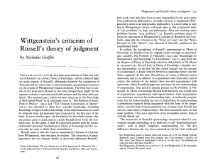 Wittgenstein`s criticism of Russell`s theory of judgment