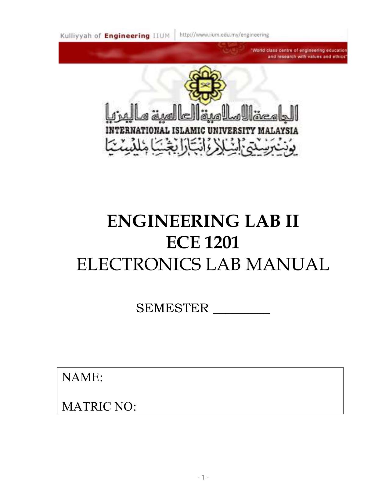 EXPERIMENT 5: BJT Biasing Circuits
