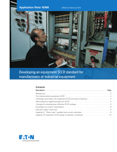 Developing an equipment SCCR standard for manufacturers of