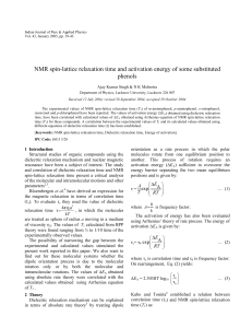 NMR spin-lattice relaxation time and activation energy of