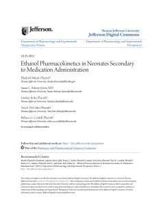 Ethanol Pharmacokinetics in Neonates Secondary to Medication