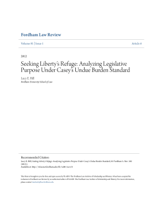 Seeking Liberty`s Refuge: Analyzing Legislative Purpose Under