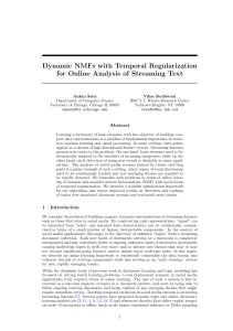 Dynamic NMFs with Temporal Regularization for Online Analysis of