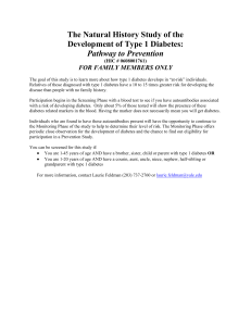 The Natural History Study of the Development of Type 1 Diabetes
