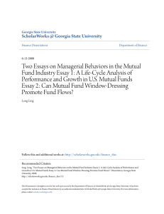 Two Essays on Managerial Behaviors in the Mutual Fund Industry
