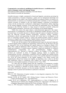 Communicative conventions in multilingual scientific discourse