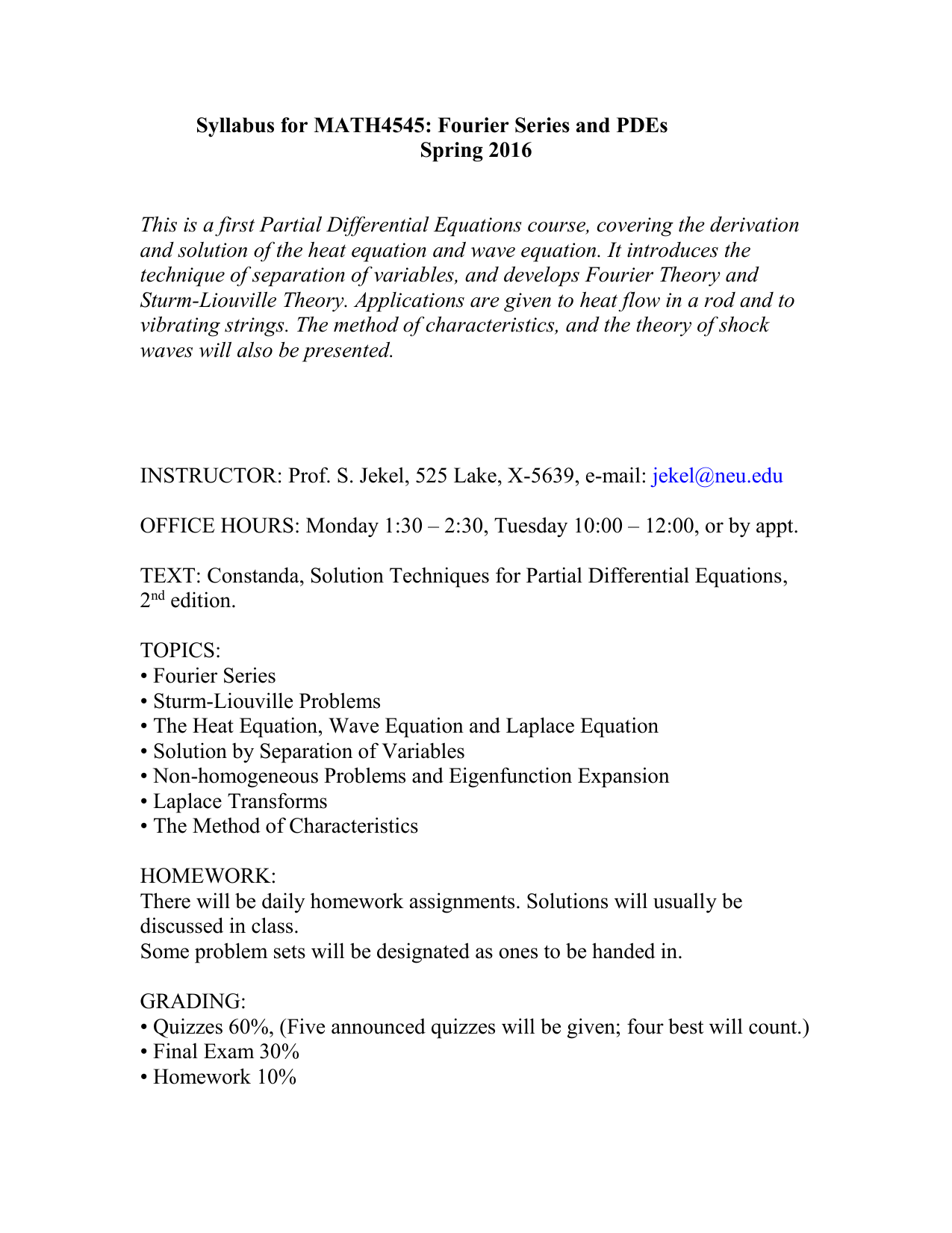 Syllabus for MTH U545: Fourier Series and PDE`s