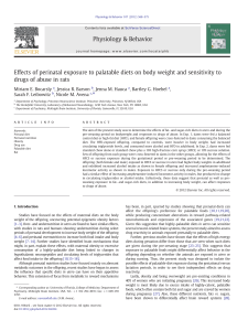 Effects of perinatal exposure to palatable diets on body weight and