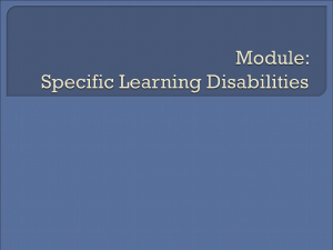 Module One: Disability Categories