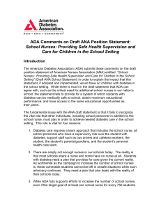 ADA Comments on Draft ANA Position Statement: School Nurses