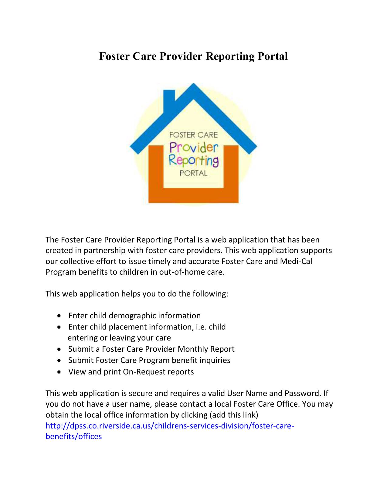 Foster Care Provider Reporting Portal