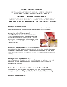 Fluoride Varnish Fact Sheet for Caregivers