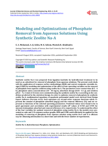 Modeling and Optimizations of Phosphate Removal from Aqueous