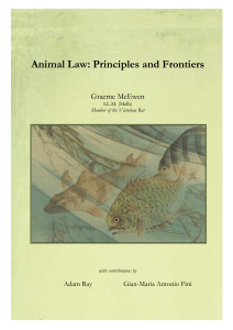 Animal Law: Principles and Frontiers