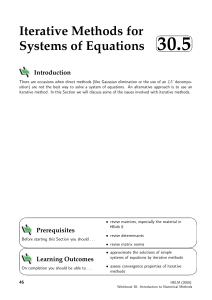 Iterative Methods for Systems of Equations