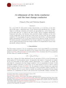 A refinement of the Artin conductor and the base change conductor