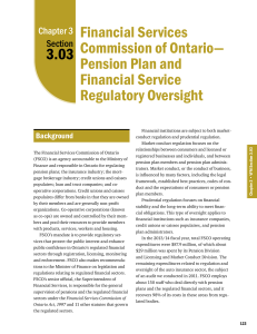 3.03: Financial Services Commission of Ontario—Pension Plan and