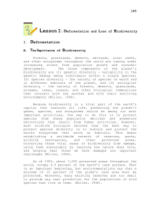 Lesson 2 : Deforestation and Loss of Biodiversity