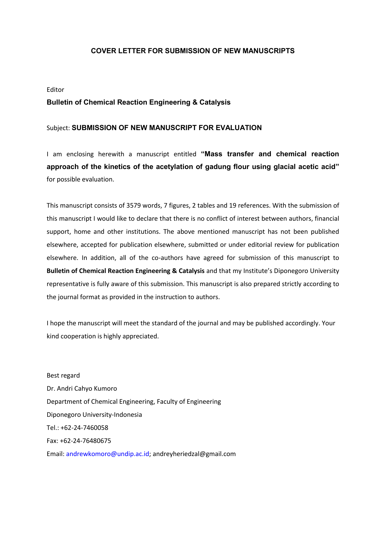Cover Letter For Submission Of New Manuscripts