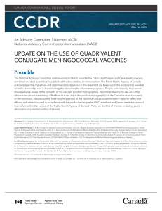 update on the use of quadrivalent conjugate meningococcal vaccines