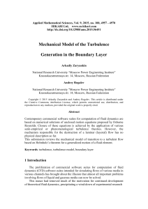 Mechanical model of the turbulence generation in the
