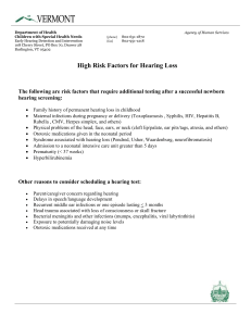 High Risk Factors for Hearing Loss