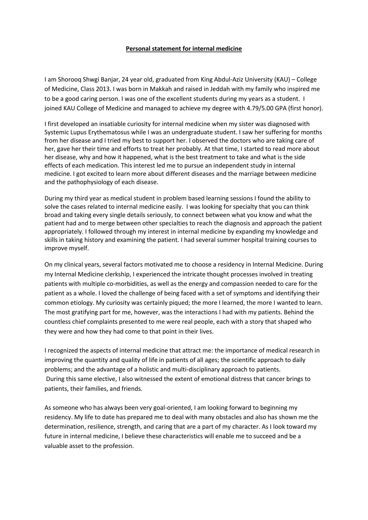 personal statement for internal medicine i am shorooq shwgi banjar