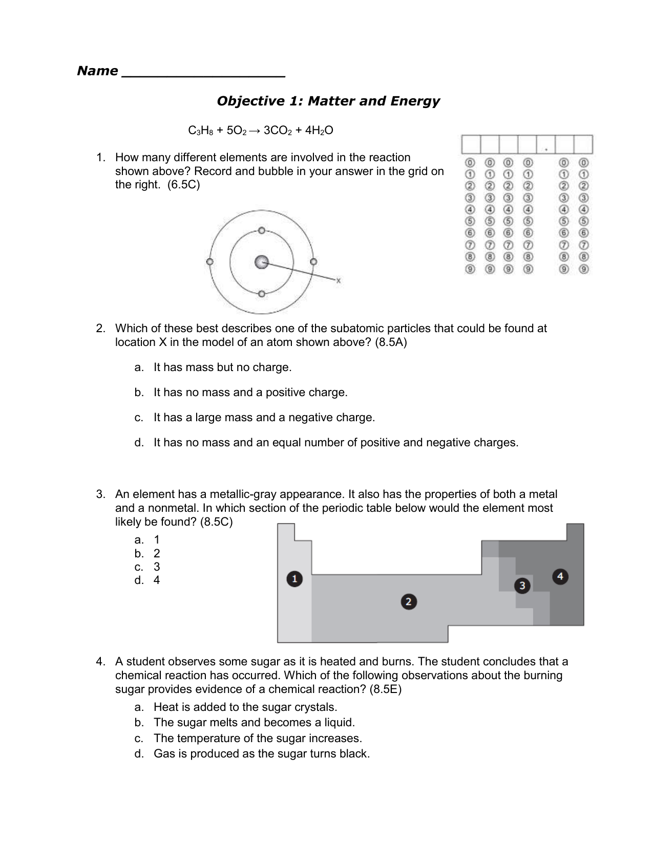 Name objective 1 matter and energy c3h8 5o2 3co2 4h2o urtaz Choice Image