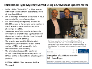 Third Blood Type Mystery Solved using a UVM Mass