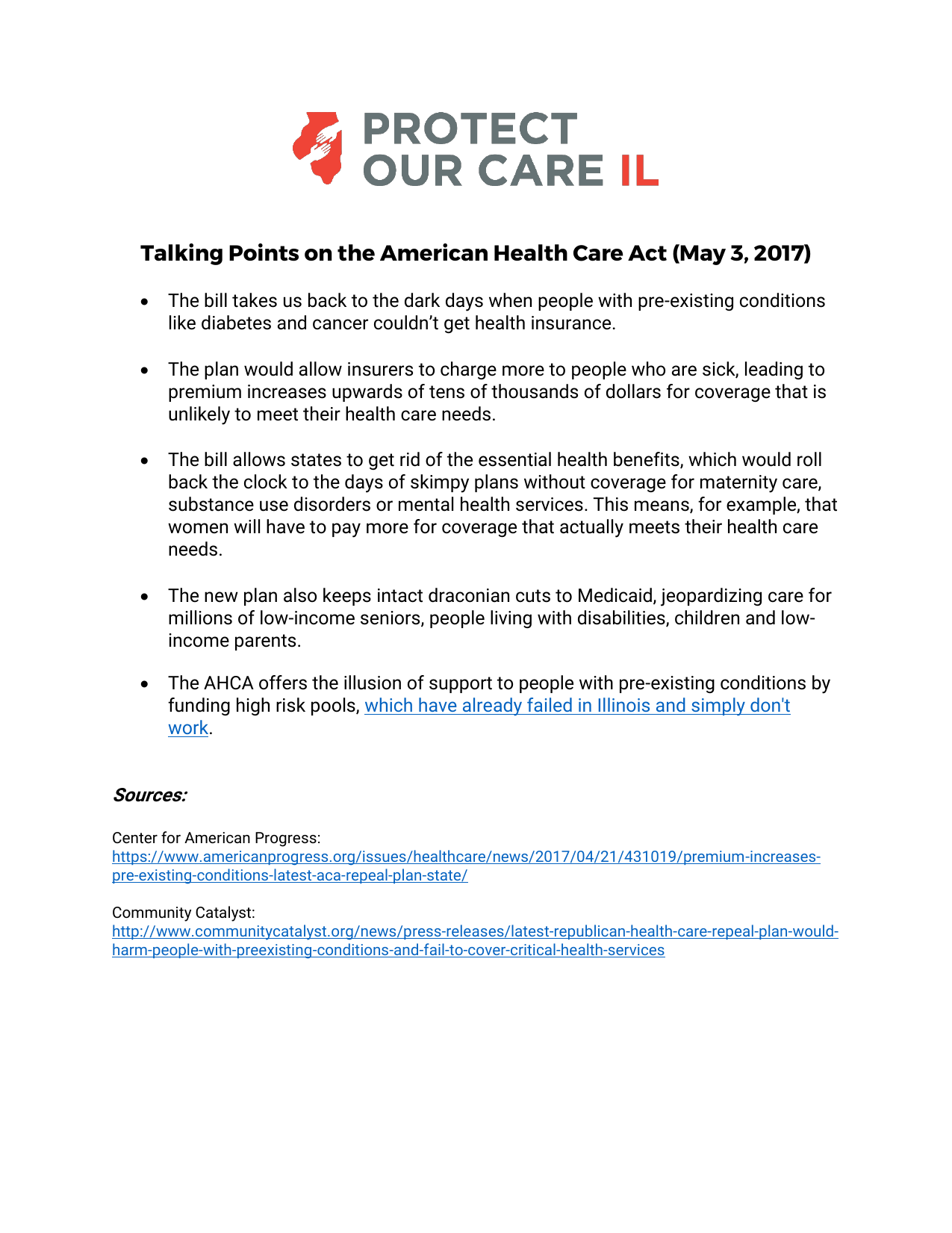 Talking Points On The American Health Care Act