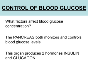 control of blood glucose - School