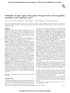 Heritability of high sugar consumption through drinks