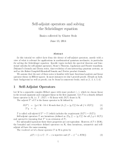 Self-adjoint operators and solving the Schrödinger equation