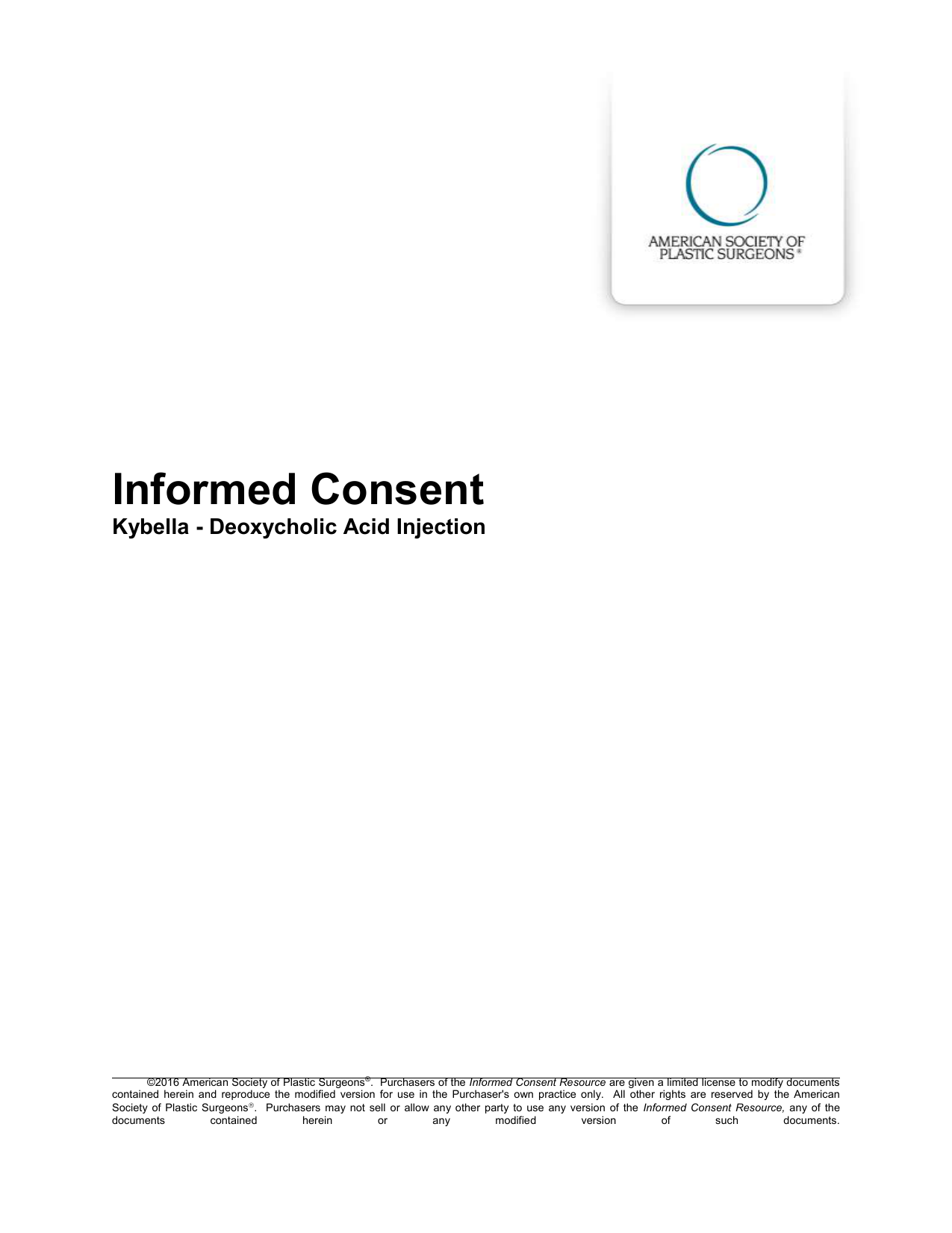 Informed Consent Kybella Deoxycholic Acid Injection Informed