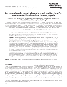 High plasma linezolid concentration and impaired renal function