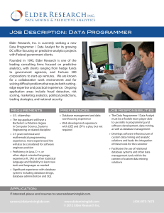 Job Description: Data Programmer