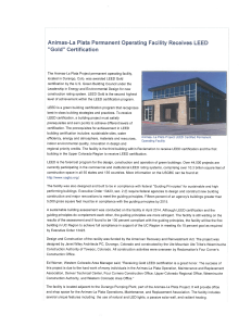 Animas-La Plata Permanent Operating Facility Receives LEED
