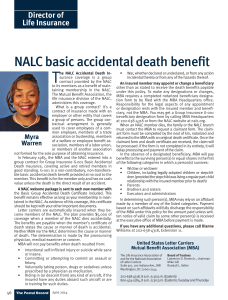 Director of Life Insurance NALC basic accidental death benefit