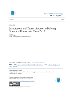 Jurisdictions and Causes of Action in Bullying Stress