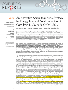 An Innovative Anion Regulation Strategy for Energy Bands of