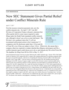 New SEC Statement Gives Partial Relief under Conflict Minerals Rule