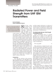 Radiated Power and Field Strength from UHF ISM Transmitters