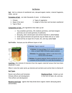 Soil Review Soil – Soil is a mixture of weathered rock, decayed