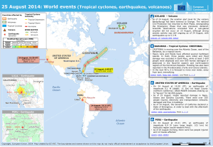 25 August 2014: World events (Tropical cyclones, earthquakes