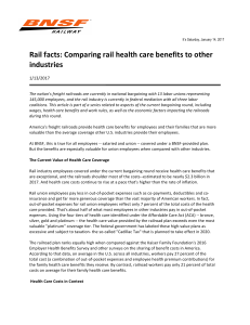 Comparing rail health care benefits to other industries