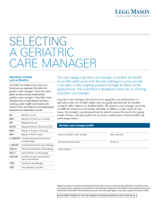 selecting a geriatric care manager