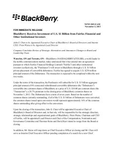 BlackBerry Receives Investment of U.S. $1 Billion from Fairfax