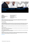 Mechanical Engineer - Underground mining