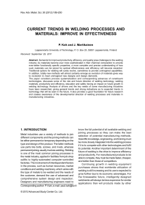 CURRENT TRENDS IN WELDING PROCESSES AND MATERIALS